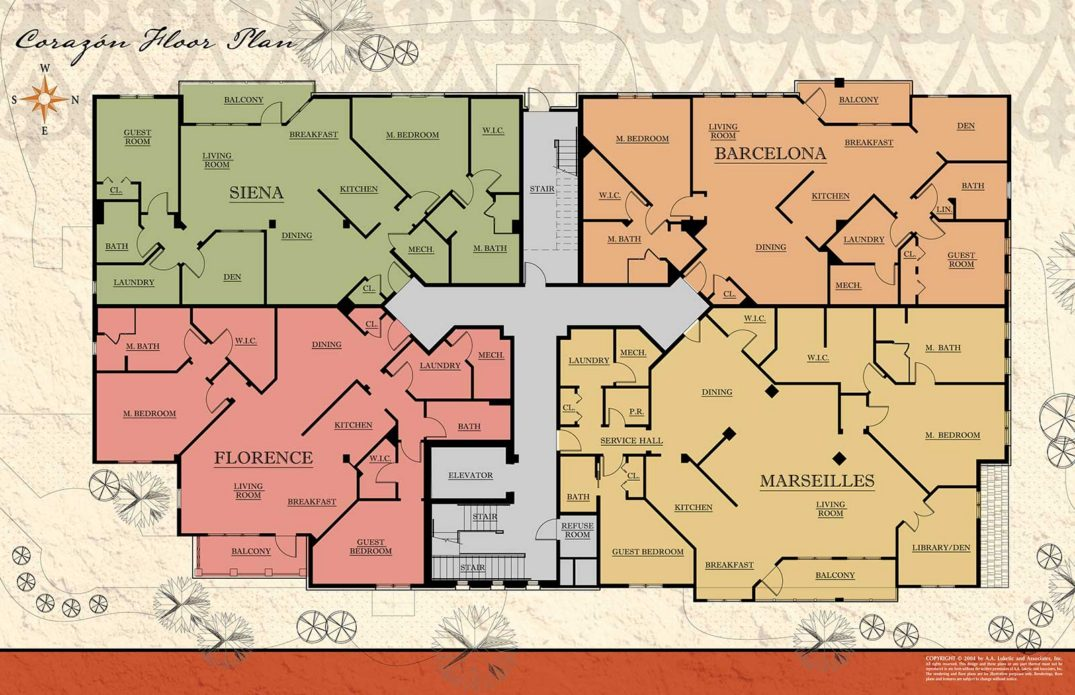 Zablo and Sons Corazon Condos floor plan options. Sienna, Barcelona, Florence, and Marseilles.