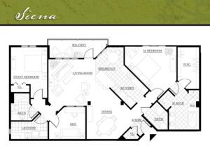 Corazon Condominiums floor plan, Seina, 1,700 square feet. Zablo and Sons, North Canton.