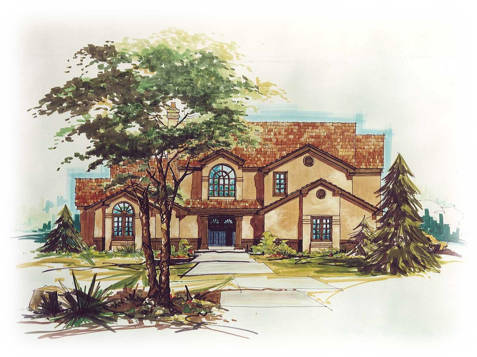 Home builders canton ohio - Zablo And Sons Custom Home Concept Art North Canton Ohio Spanish Colonial Home