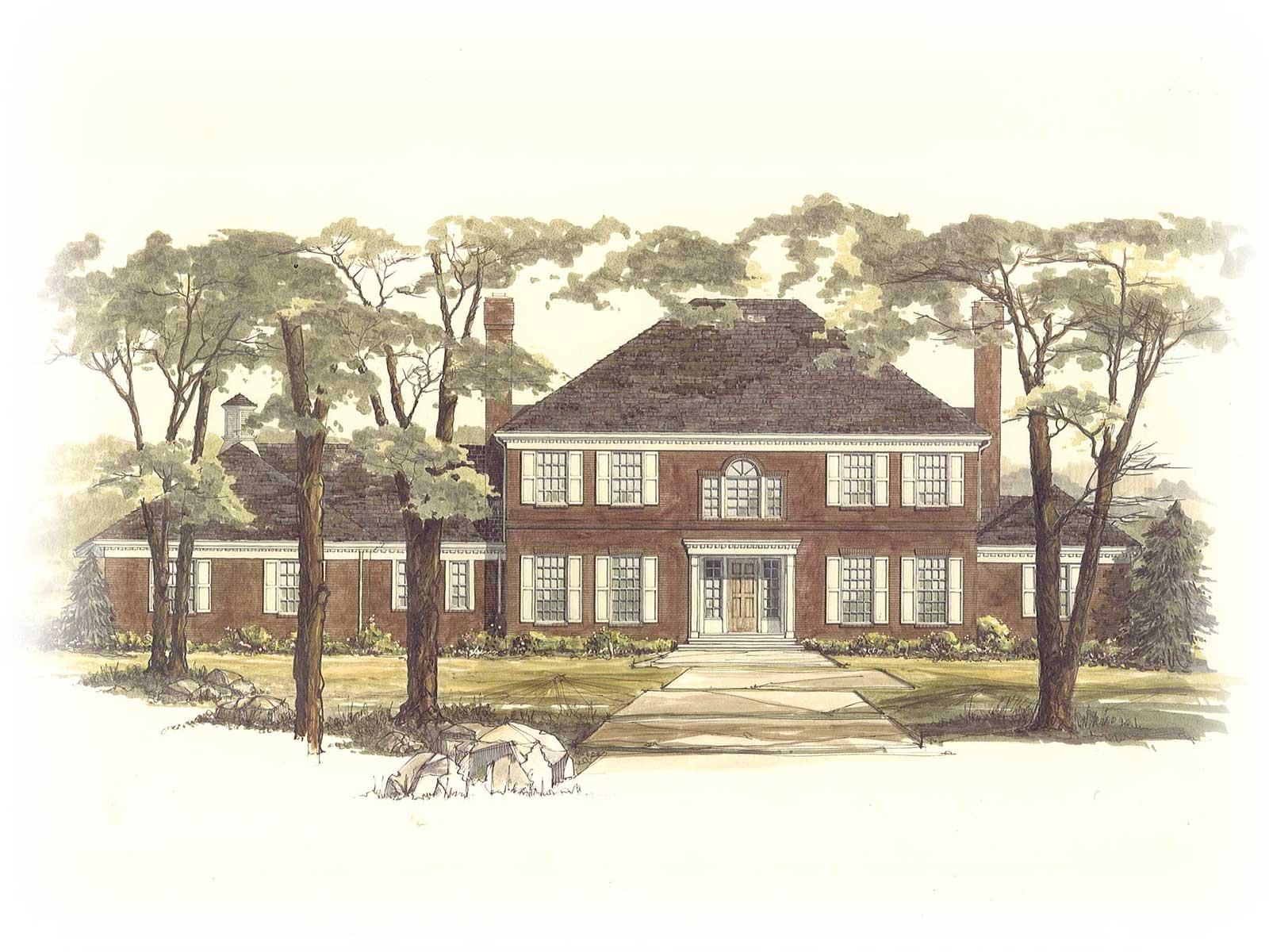 Home builders canton ohio - Zablo And Sons Custom Home Concept Art Georgian Colonial